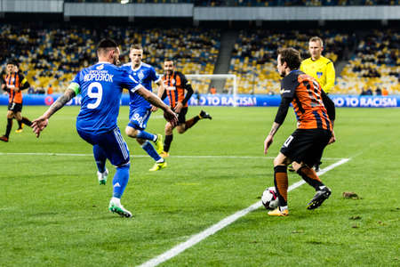 Kyiv, Ukraine - October 22, 2017: Bernard in action against Mykola Morozyuk. Ukrainian Premier League match Dynamo Kyiv – Shakhtar Donetsk at NSC Olimpiyskiy stadium.