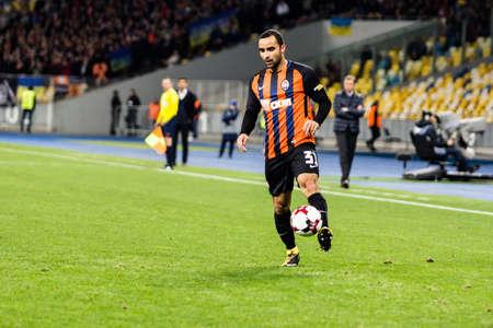 Kyiv, Ukraine - October 22, 2017: Ismaili controls the ball. Ukrainian Premier League match Dynamo Kyiv – Shakhtar Donetsk at NSC Olimpiyskiy stadium.