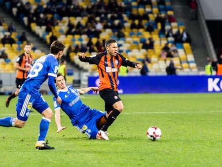 Kyiv, Ukraine - October 22, 2017: Marlos in action against Denis Garmash. Ukrainian Premier League match Dynamo Kyiv – Shakhtar Donetsk at NSC Olimpiyskiy stadium.