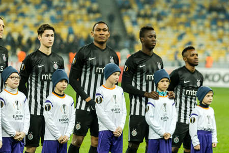 Kyiv, Ukraine - December 7, 2017: Partizan players before the start of UEFA Europa League match against Dynamo Kyiv at NSC Olympic stadium in Kyiv, Ukraine. Redakční