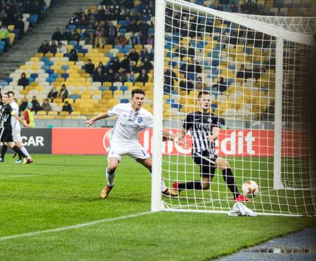 Kyiv, Ukraine – December 7, 2017: Junior Moraes of Dynamo Kyiv scores a goal during UEFA Europa League match against Partizan at NSC Olympic stadium in Kyiv, Ukraine.