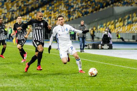 Kyiv, Ukraine – December 7, 2017: Josip Pivaric of Dynamo Kyiv passes the ball during UEFA Europa League match against Partizan at NSC Olympic stadium in Kyiv, Ukraine.