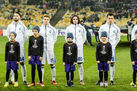 Kyiv, Ukraine - December 7, 2017: Dynamo Kyiv players before the start of UEFA Europa League match against Partizan at NSC Olympic stadium in Kyiv, Ukraine.