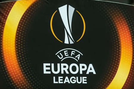 Kyiv, Ukraine - December 7, 2017: The sign and logo  of the UEFA Europa League during the UEFA Europa League match between Dynamo Kyiv vs Partizan at NSC Olympic stadium in Kyiv, Ukraine. Redakční