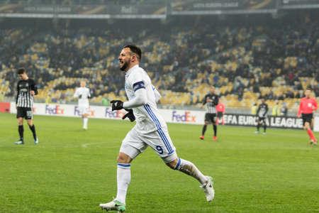 Kyiv, Ukraine – December 7, 2017: Mykola Morozyuk of Dynamo Kyiv react after score a goal during UEFA Europa League match against Partizan at NSC Olympic stadium in Kyiv, Ukraine. Redakční