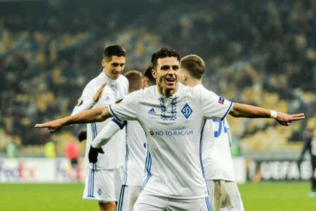 Kyiv, Ukraine – December 7, 2017: Junior Moraes of Dynamo Kyiv react after score a goal during UEFA Europa League match against Partizan at NSC Olympic stadium in Kyiv, Ukraine.