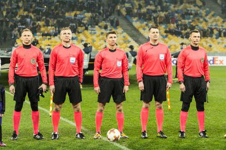 Kyiv, Ukraine - December 7, 2017: The Chief Referees before the start of UEFA Europa League match Dynamo Kyiv against Partizan at NSC Olympic stadium in Kyiv, Ukraine. Redakční