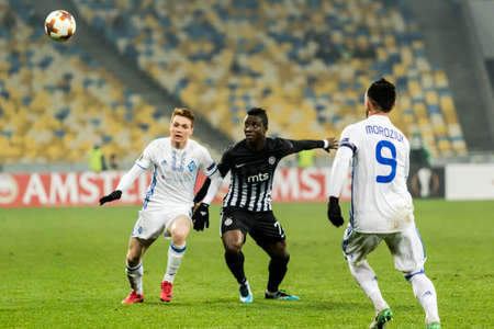 Kyiv, Ukraine - December 7, 2017: Players in action during the UEFA Europa League match between Dynamo Kyiv vs Partizan at NSC Olympic stadium in Kyiv, Ukraine.