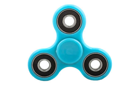 Blue spinner stress relieving toy isolated on white background.