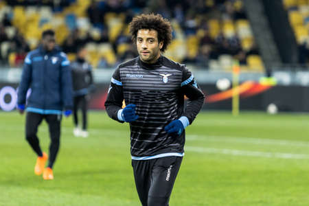 Kyiv, Ukraine – March 15, 2018: Felipe Anderson of Lazio before the start of UEFA Europa League match against Dynamo Kyiv at NSC Olympic stadium in Kyiv, Ukraine.