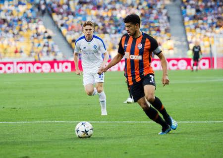 Kyiv, Ukraine - August 03, 2018: Taison controls the ball. Ukrainian Premier League match Dynamo Kyiv – Shakhtar Donetsk at Dynamo Kyiv stadium.