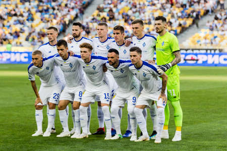 Kyiv, Ukraine - August 03, 2018: Players of Dynamo Kyiv before the start of the match. Ukrainian Premier League match Dynamo Kyiv – Shakhtar Donetsk at Dynamo Kyiv stadium.