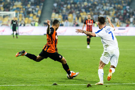 Kyiv, Ukraine - August 03, 2018: Marlos in action. Ukrainian Premier League match Dynamo Kyiv – Shakhtar Donetsk at Dynamo Kyiv stadium.