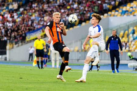 Kyiv, Ukraine - August 03, 2018: Kovalenko abd Tsygankov fighting for the ball. Ukrainian Premier League match Dynamo Kyiv – Shakhtar Donetsk at Dynamo Kyiv stadium.