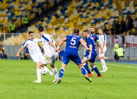 Kyiv, Ukraine - August 14, 2018: Players in action during UEFA Champions League match Dynamo Kyiv – Slavia Prague at NSC Olympic stadium in Kyiv, Ukraine. Redakční