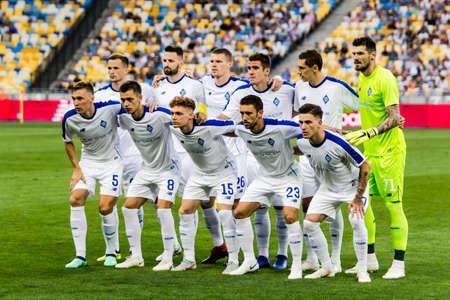 Kyiv, Ukraine - August 14, 2018: FC Dynamo Kyiv players team photo during UEFA Champions League match Dynamo Kyiv – Slavia Prague at NSC Olympic stadium in Kyiv, Ukraine.