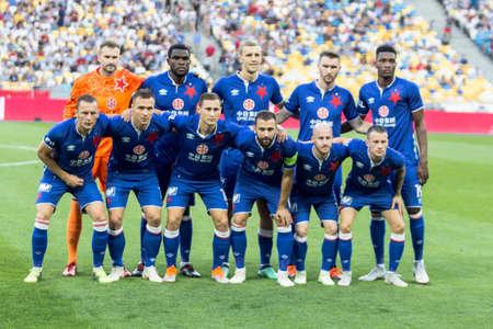 Kyiv, Ukraine - August 14, 2018: Slavia Prague team photo during UEFA Champions League match Dynamo Kyiv – Slavia Prague at NSC Olympic stadium in Kyiv, Ukraine.