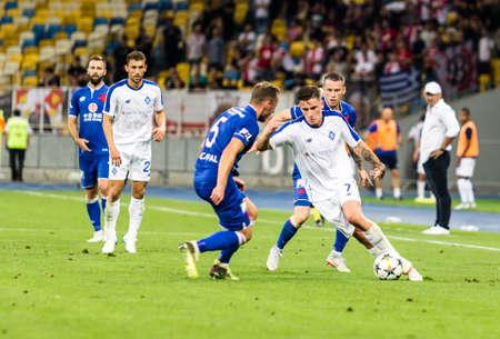 Kyiv, Ukraine - August 14, 2018: Benjamin Verbic in action during UEFA Champions League match Dynamo Kyiv – Slavia Prague at NSC Olympic stadium in Kyiv, Ukraine.