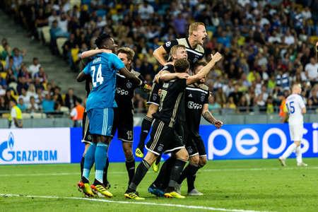 Kyiv, Ukraine - August 24, 2018: Players of Ajax celebrates their victory UEFA Champions League match Dynamo Kyiv – AFC Ajax at NSC Olympic stadium in Kyiv, Ukraine.