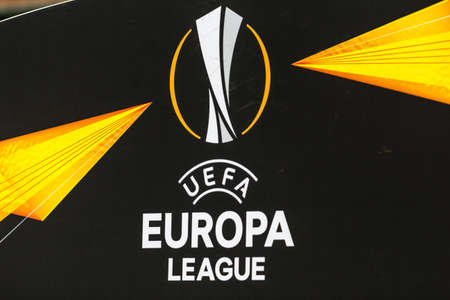 Kyiv, Ukraine - November 8, 2018: The sign and logo of the UEFA Europa League during the UEFA Europa League match between Dynamo Kyiv vs Stade Rennais at NSC Olympic stadium in Kyiv, Ukraine.