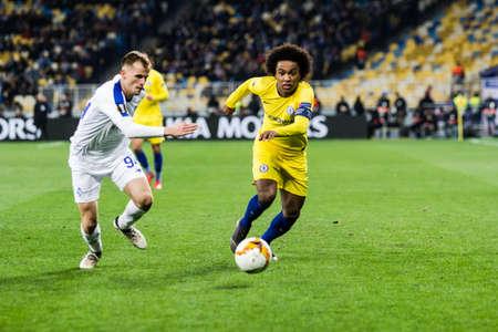 Kyiv, Ukraine - March 14, 2019: Willian of Chelsea in action during UEFA Europa League match against Dynamo Kyiv at NSC Olimpiyskiy stadium. Editorial