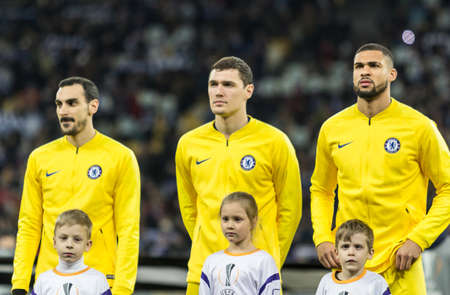 Kyiv, Ukraine - March 14, 2019: Chelsea players before the start of UEFA Europa League match against Dynamo Kyiv at NSC Olimpiyskiy stadium.