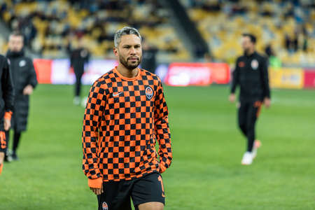 Kyiv, Ukraine - October 30, 2019: Marlos of Shakhtar Donetsk during warm up before the game against FC Dynamo Kyiv in Ukrainian Cup match at NSC Olimpiyskiy stadium. Redactioneel