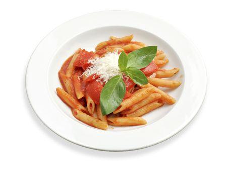 Simple rigatoni pasta dish with tomato sauce