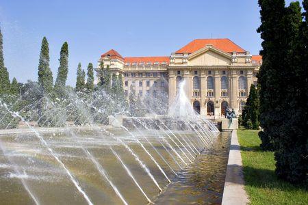 university fountain: Main entrance of Debrecen University, Hungary at summer time