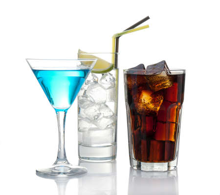 Variety of cocktails isolated on white with reflection