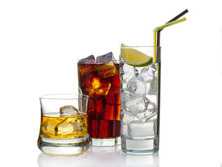 Variety of cocktails, isolated on white with reflection photo