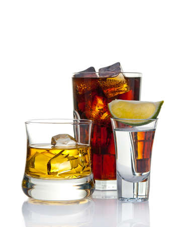 Variety of cocktails, isolated on white with reflection