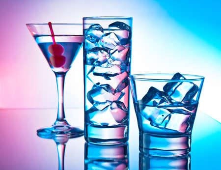 maraschino: Three cocktails - martini glass, highball and old fashion