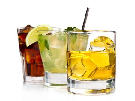 Variety of cocktails on white background Standard-Bild