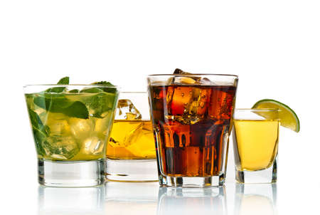 Variety of cocktails on white background
