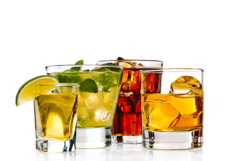 alcoholic beverage: Variety of cocktails on white background Stock Photo