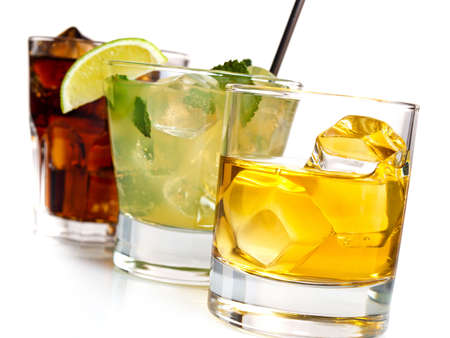 Variety of cocktails on white background Stock Photo