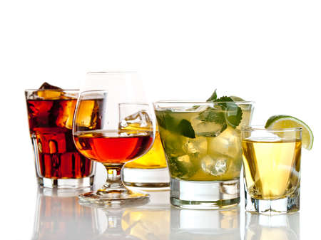 Variety of cocktails on white background Imagens