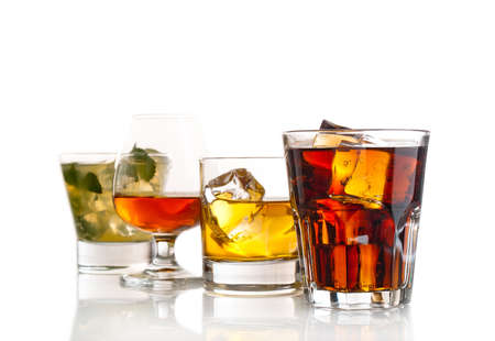 Variety of cocktails on white background photo