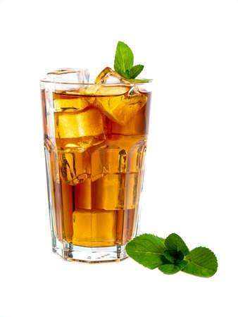 Large glass of refreshing mint ice tea, isolated on white Standard-Bild