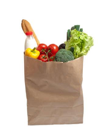 Paper bag full of food Standard-Bild