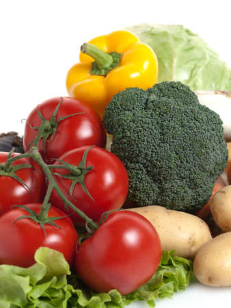 Large group of fresh vegetables on white background