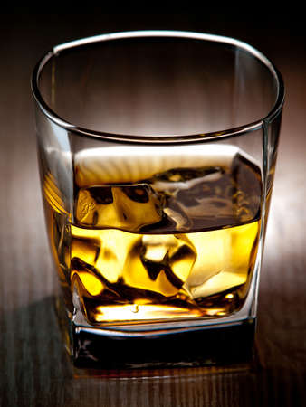 whisky glass: Glass of whiskey on the rocks Stock Photo