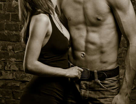 sex: Young heterosexual couple, moments of intimacy Stock Photo