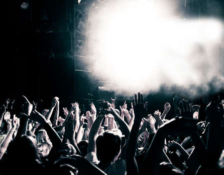 nightclub crowd: Concert crowd, hands up, toned Stock Photo
