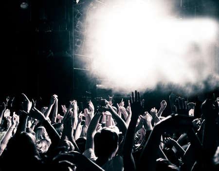 Concert menigte, handen omhoog, afgezwakt
