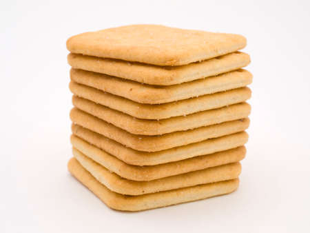 neatly: Stack of neatly arranged crackers Stock Photo
