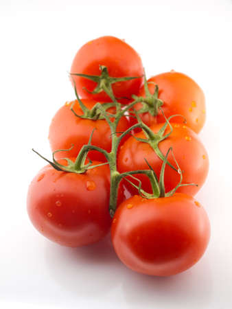 lycopene: Six red tomatos on with drops of water on vine Stock Photo