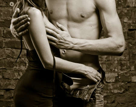 Young heterosexual couple, moments of intimacy Stock Photo