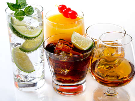 bourbon: Various alcoholic cocktails on white background